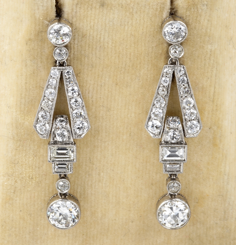 13ed565612440 Details about Art Deco 3.60 Ct Diamond Platinum Drop Earrings